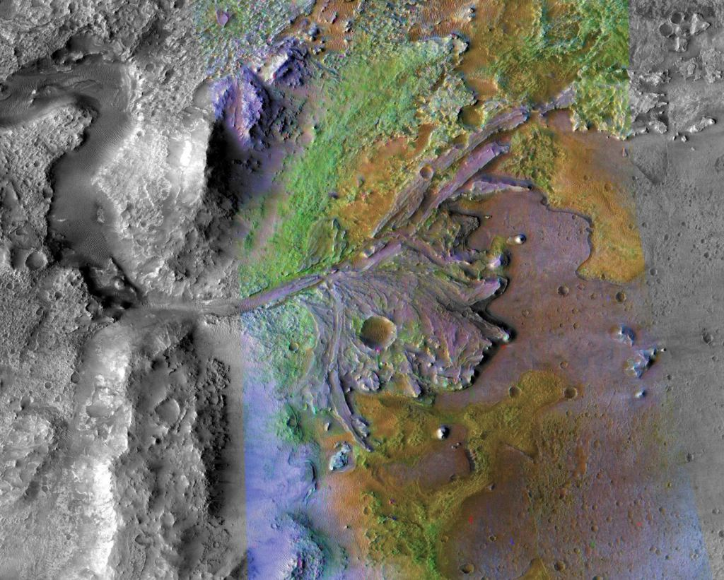 Jezero Crater on Mars, the landing site for NASA's Mars 2020 rover. Image Credit: NASA/JPL-Caltech/ASU